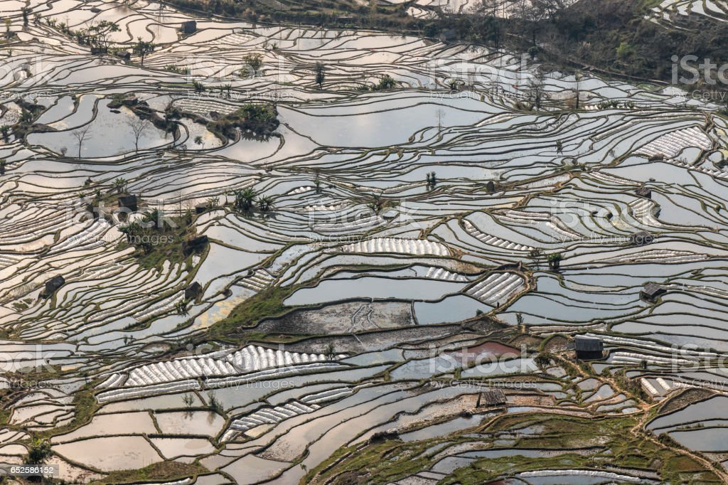 YuanYang rice terraces in Yunnan, China, one of the latest UNESCO World Heritage Sites stock photo