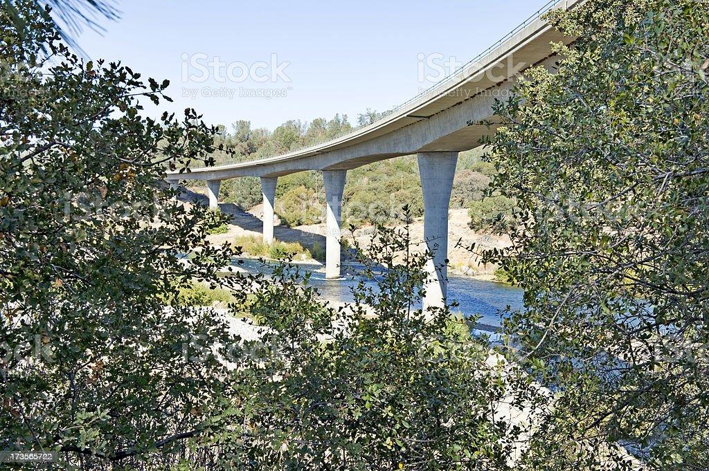 Yuba River and Bridge royalty-free stock photo