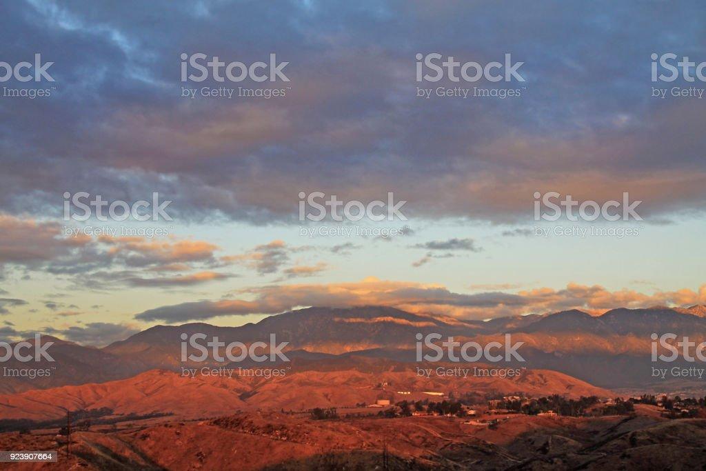 Yucaipa Sunsert Red A storm passing Yucaipa making the sunset turn red California Stock Photo
