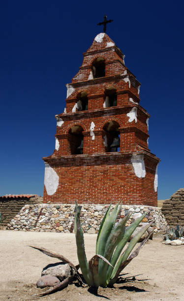 Yucca and Bell Tower at Mission San Miguel, California stock photo