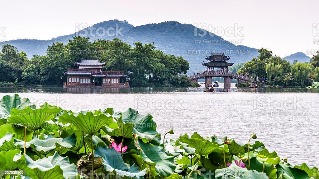 Yudai bridge and West Lake view in Hangzhou, China stock photo