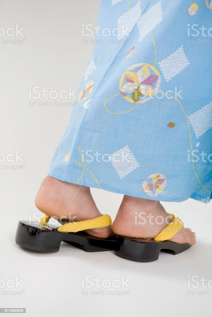 Yukata robes and sandals royalty-free stock photo