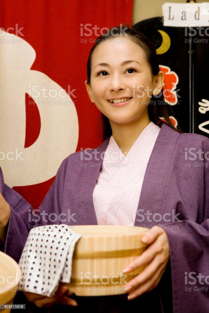 浴衣的女人肖像 免版稅 stock photo