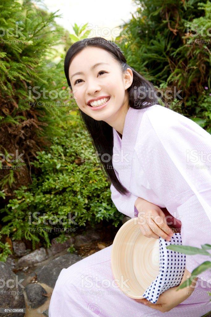Yukata woman with bucket royalty-free stock photo