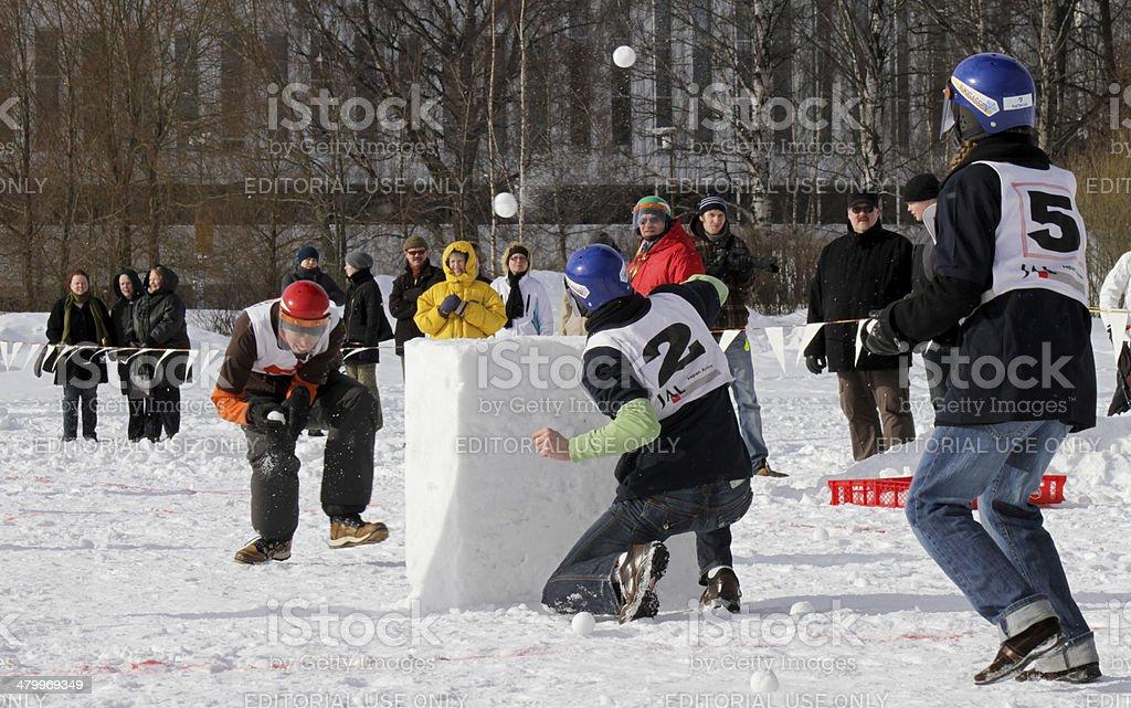 Yukigassen snowball fighting stock photo