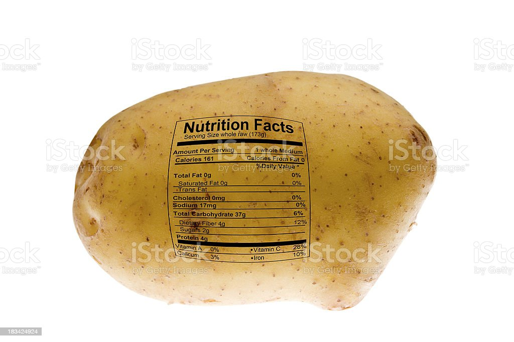 Yukon Gold Potato With Nutrition Label royalty-free stock photo