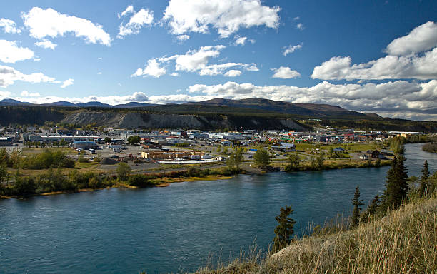 yukon river and the city of whitehorse, yukon, canada - yt stock pictures, royalty-free photos & images