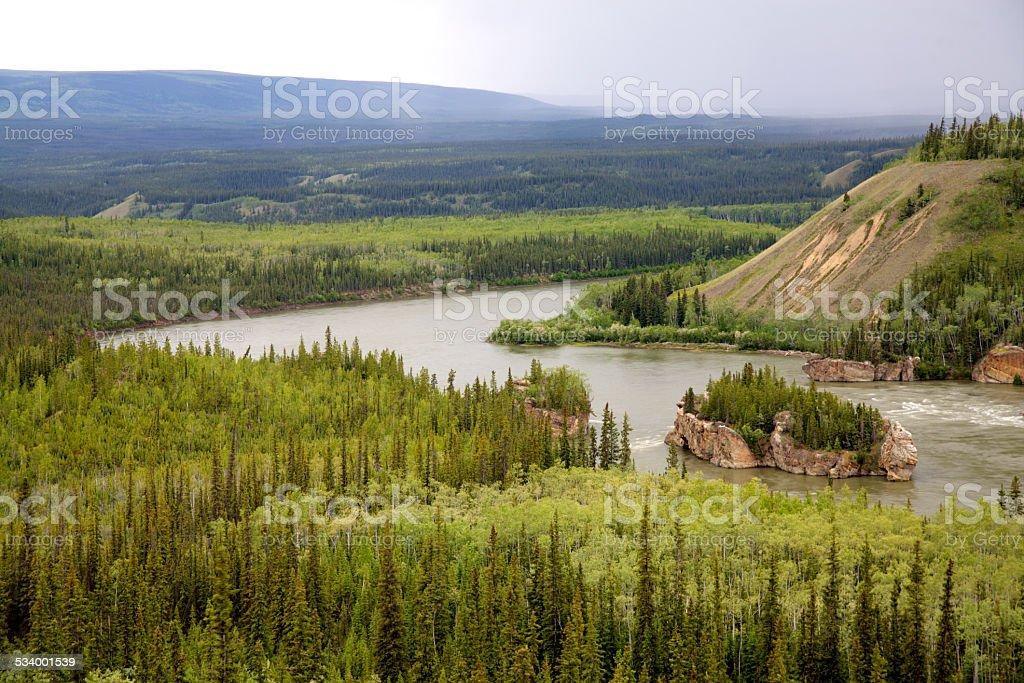 Yukon River at Five Finger Rapid. stock photo