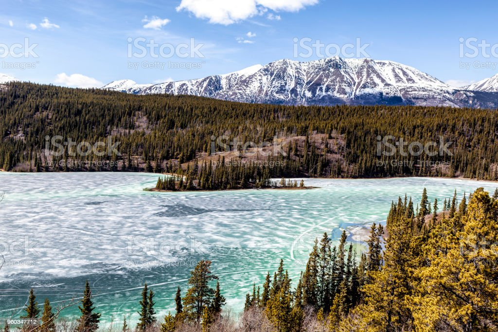 Yukon Territory: Emerald Lake and Gray Ridge Mountain stock photo