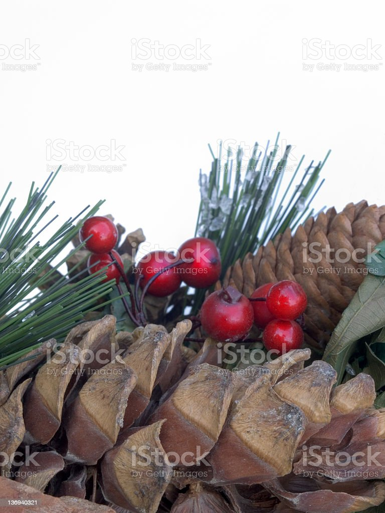 Yuletide Cones and Berries royalty-free stock photo