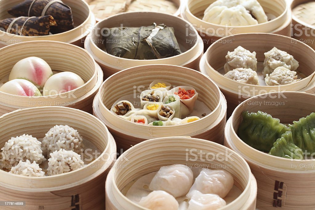 yumcha, dim sum in bamboo steamer stock photo