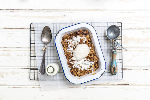 yummy apple crumble dessert - anthony mcgovern stock photos and pictures