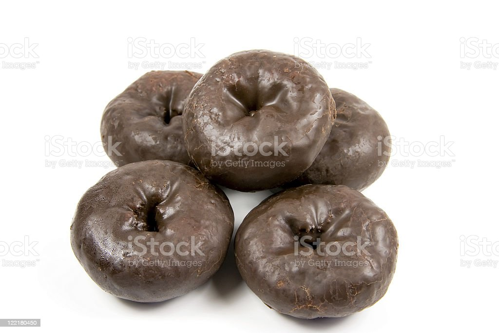 Yummy Chocolate Donuts on a white background. stock photo