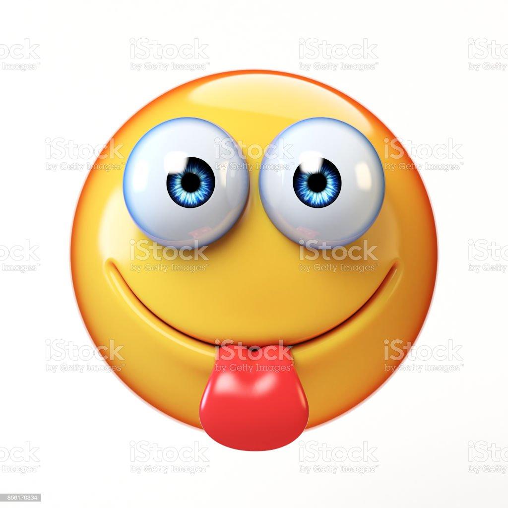 Yummy Emoji isolated on white background, sticking tongue emoticon stock photo