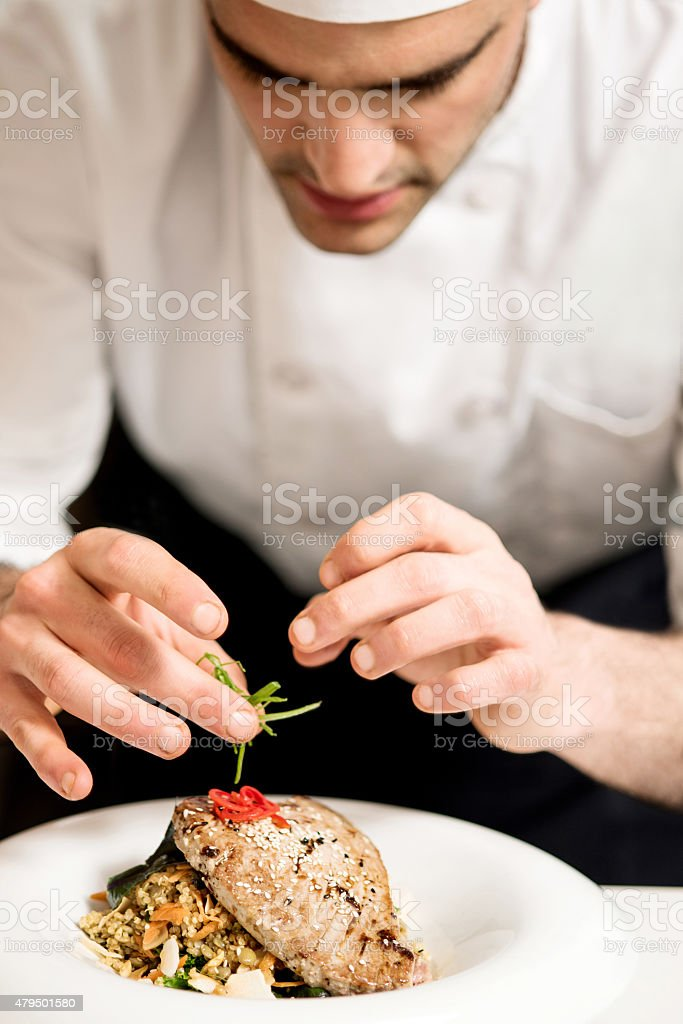 Yummy fish is ready to be served stock photo