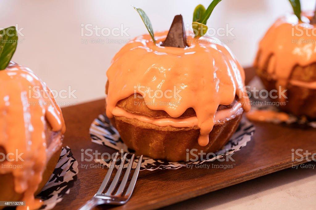 Yummy Mini Pumpkin Bundt Cakes stock photo