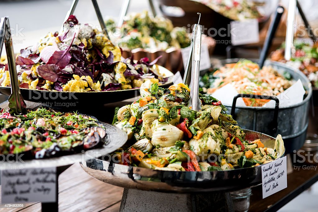 Yummy salads in restaurant. stock photo