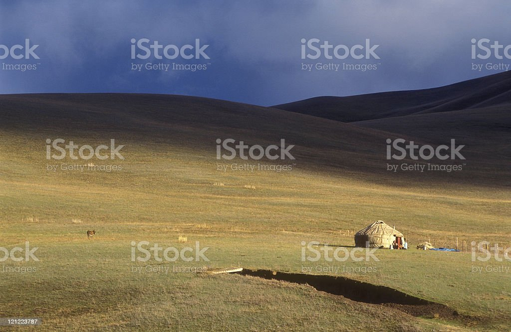 Yurt at the silk road (Tien Shan Mountains in Kyrgyztan) stock photo