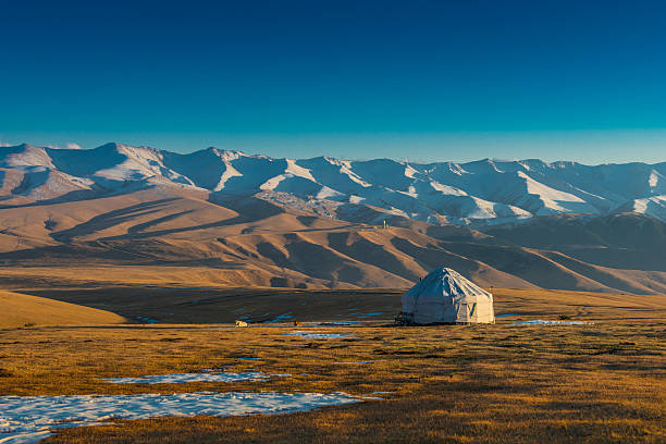 Yurt at the silk road A typical yurt (temporary house)in the colourful Tien Shan Mountains in Kazakhstan. kazakhstan stock pictures, royalty-free photos & images