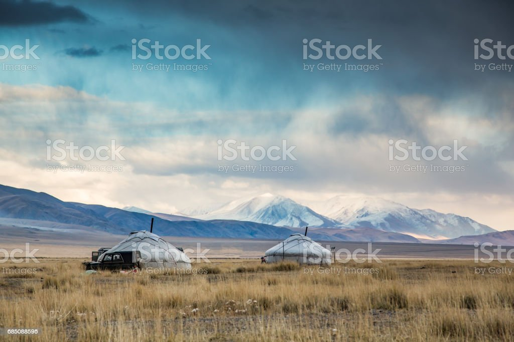 yurt (Ger) in a landscape of Western Mongolia stock photo