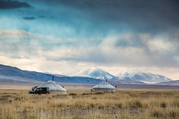 yurt (Ger) in a landscape of Western Mongolia yurt (locally called Ger) in a landscape of Western Mongolia independent mongolia stock pictures, royalty-free photos & images
