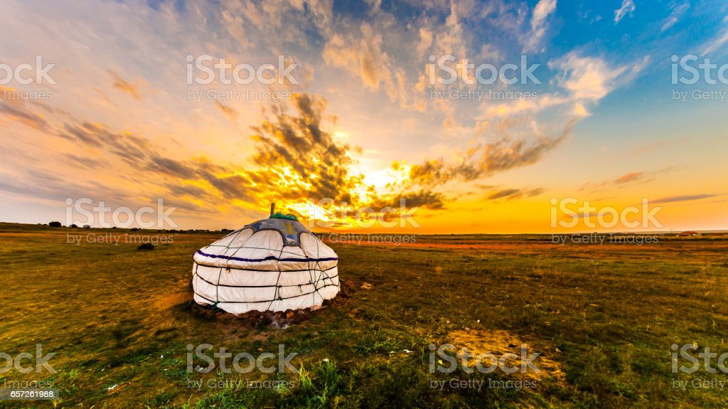Yurt in the steppe, Mongolia stock photo