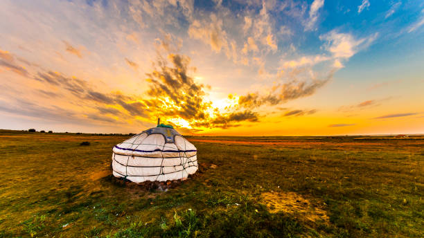 Yurt in the steppe, Mongolia Yurt in the steppe, Mongolia steppe stock pictures, royalty-free photos & images