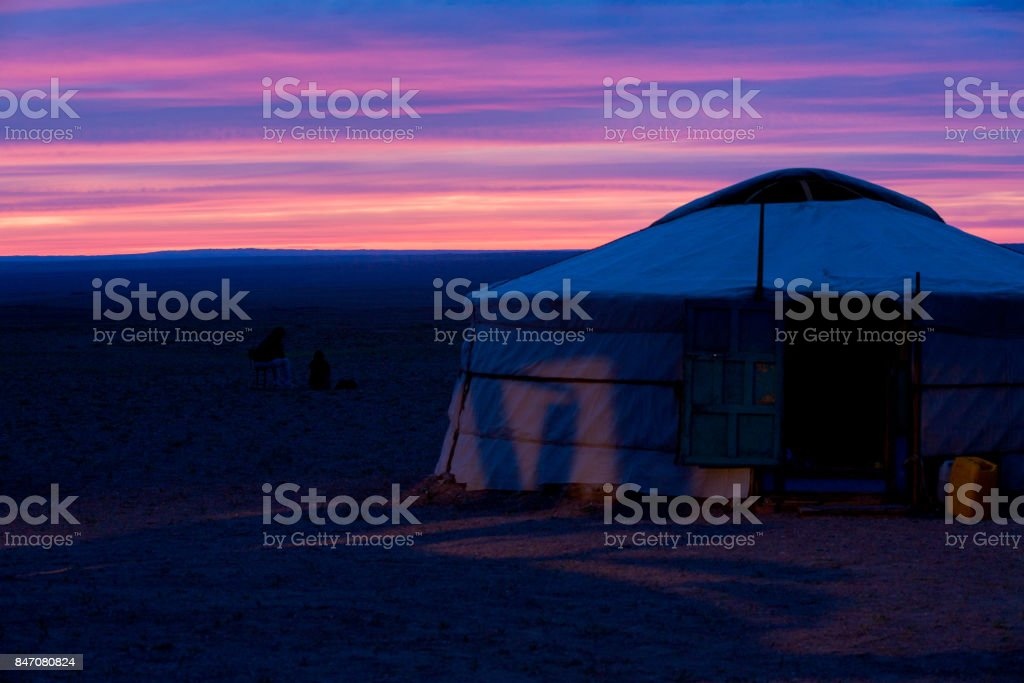 Yurt Purple Sky Sunset Gobi Desert Mongolia stock photo
