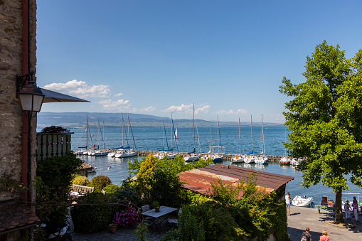 Yvoire (France). Lake Geneva, boats in the marina and tourists