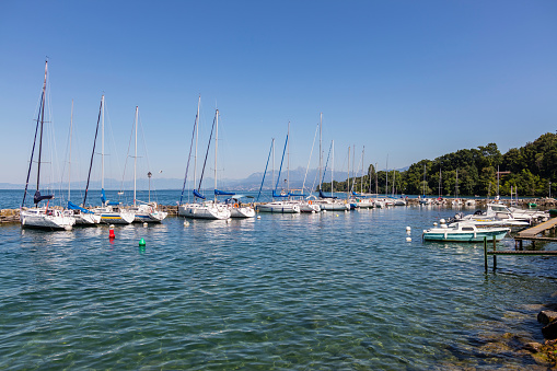 Yvoire (France). Pleasure boats in the marina
