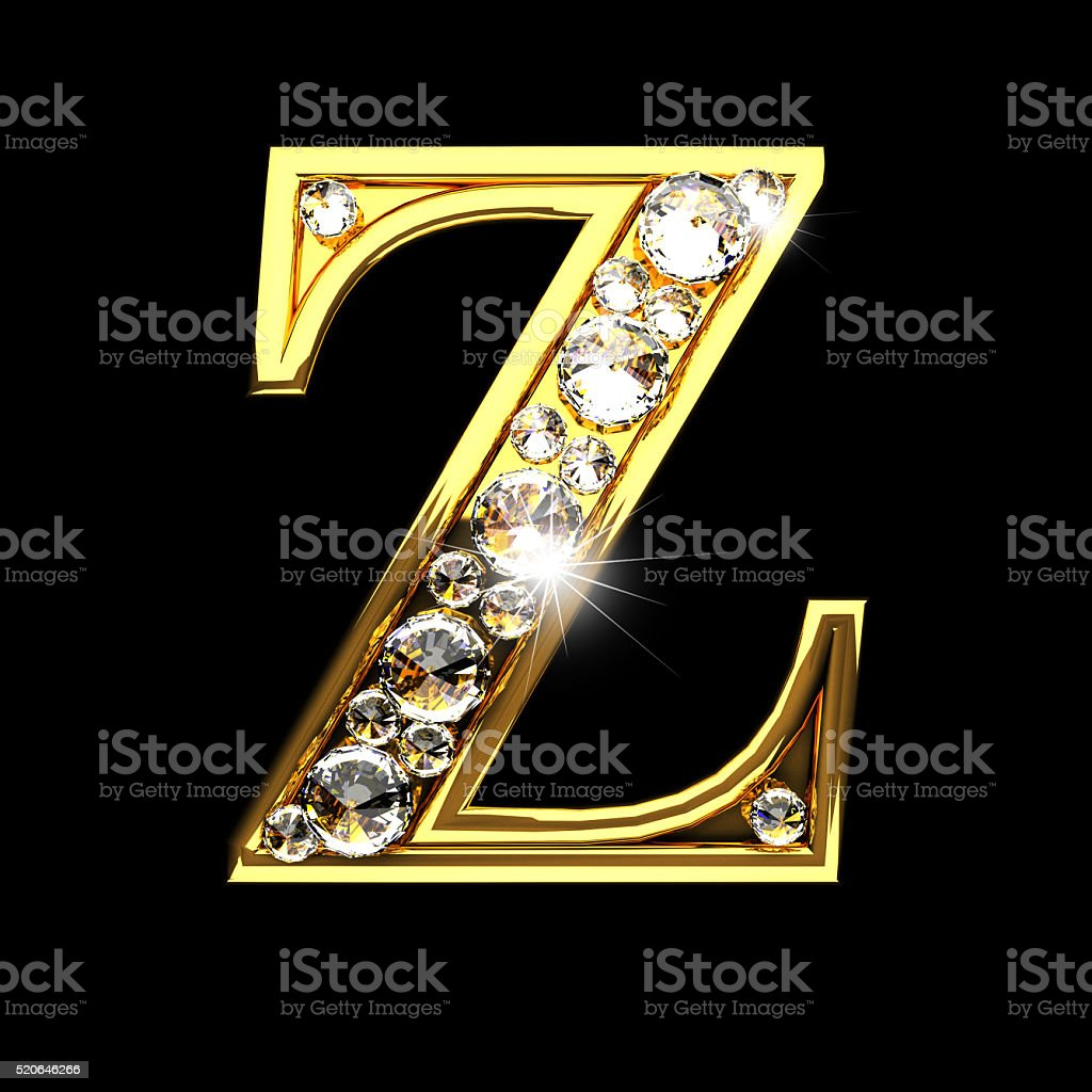 Alphabet Collection In Golden Color: Z Isolated Golden Letters With Diamonds On Black Stock
