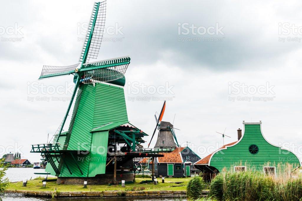 Zaandam Windmills - Green royalty-free stock photo