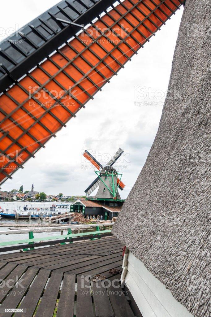 Zaandam windmills royalty-free stock photo