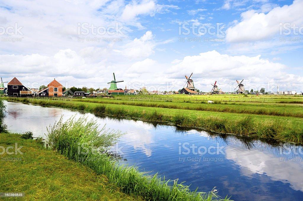 Zaanse Schans Dutch Windmills Holland Netherlands royalty-free stock photo