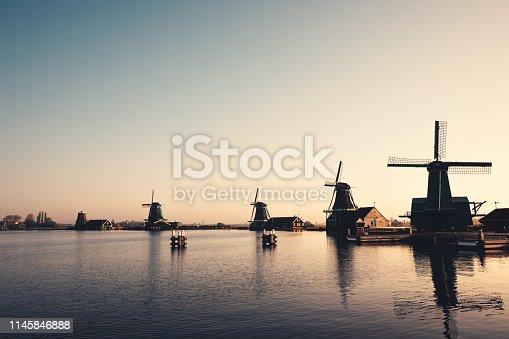 Zaanse Schans windmills at morning sunlight.