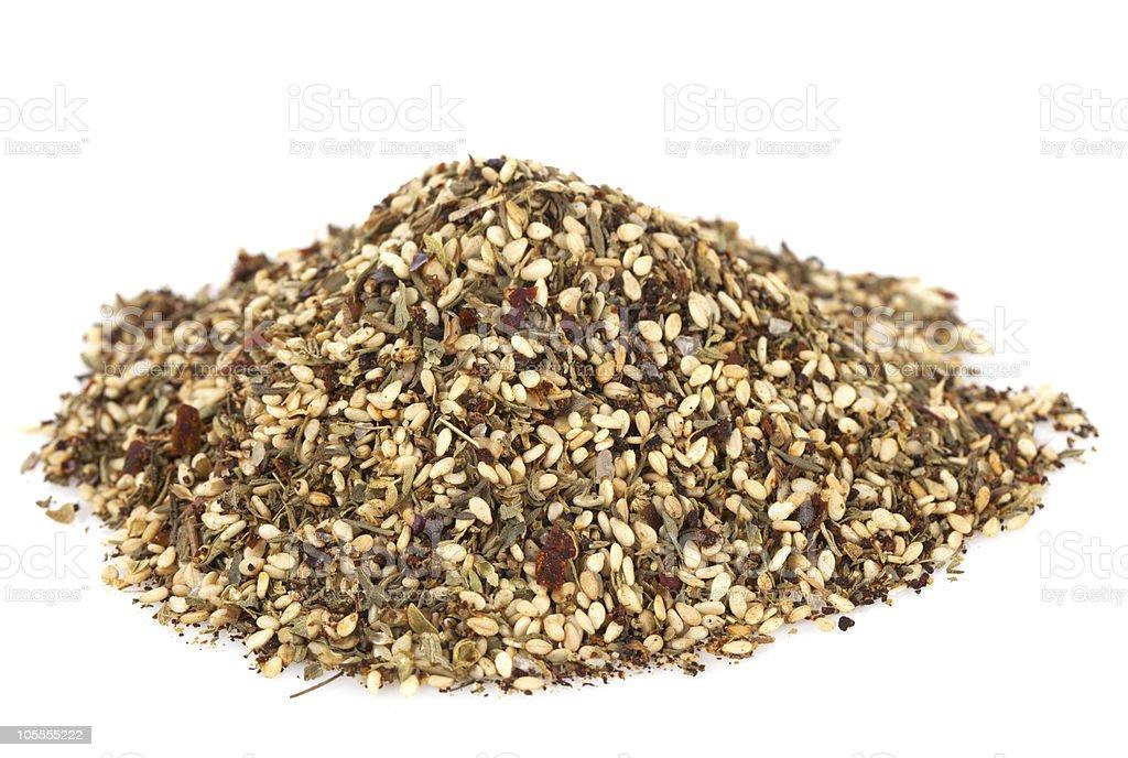Zaatar-  a blend of herbs, sesame seeds and salt  Bowl Stock Photo