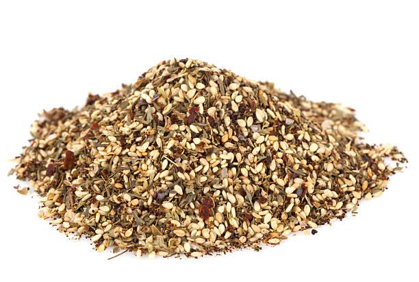 Zaatar-  a blend of herbs, sesame seeds and salt stock photo
