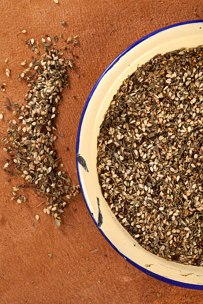 Zaatar-  a blend of herbs, sesame seeds and salt  zaatar spice stock pictures, royalty-free photos & images
