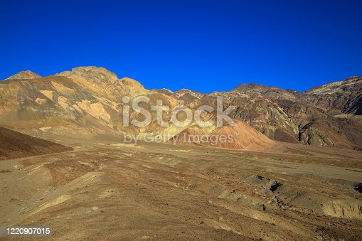 Colorful sand and limestone dunes. Typical mountainous desert landscape in Death Valley National Park. California. USA.