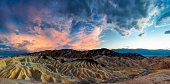 Panoramic view of Zabriskie Point at Death Valley. ( Death valley nationalpark, CA, USA)
