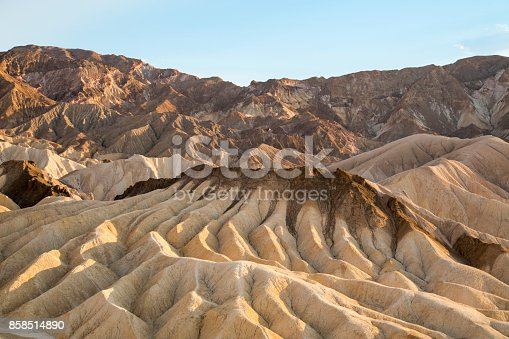 Zabriskie Point, part of the Amargosa Range located in the east of Death Valley in California, USA.