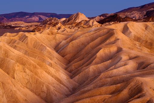 Twilight over Zabriskie Point, Death Valley National Park, California.
