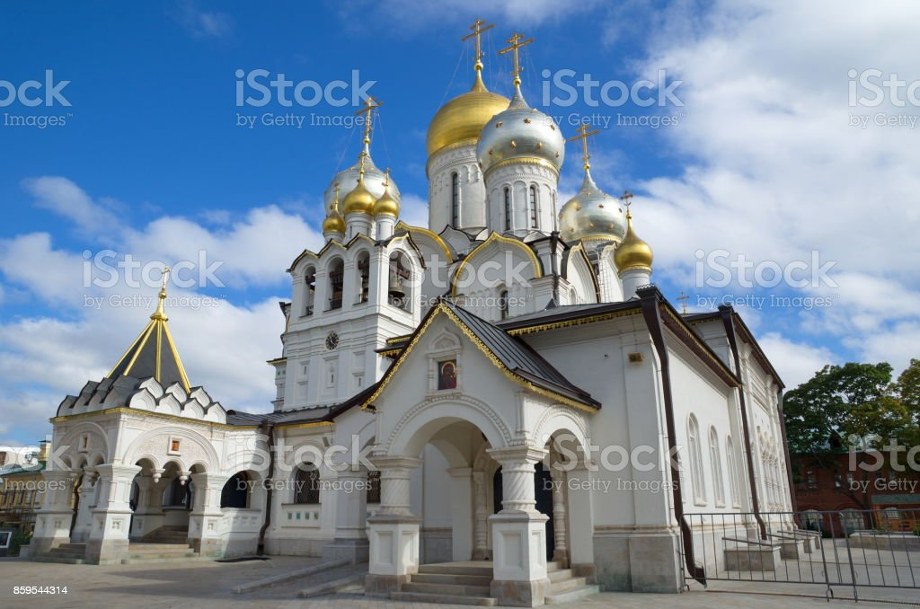 Zachatievsky women's convent in Moscow, Russia stock photo