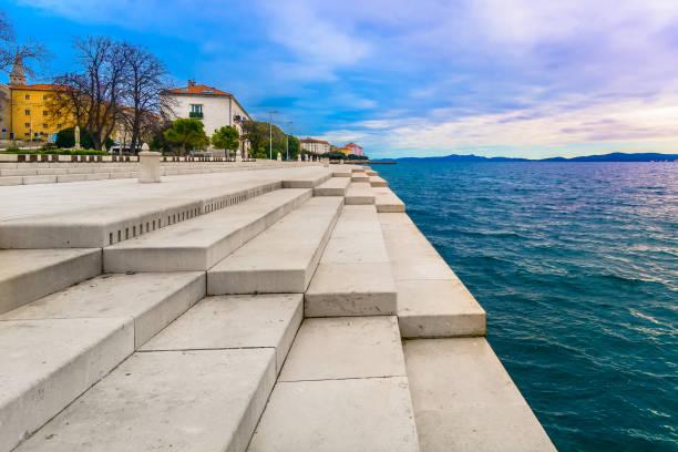 Zadar promenade coastline view. Scenic view at coastal town Zadar and famous landmark on city promenade, Croatia Europe. croatian culture stock pictures, royalty-free photos & images