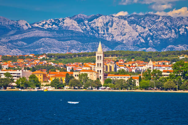 Zadar waterfront view from the sea, Dalmatia, Croatia Zadar waterfront view from the sea, Dalmatia, Croatia croatian culture stock pictures, royalty-free photos & images