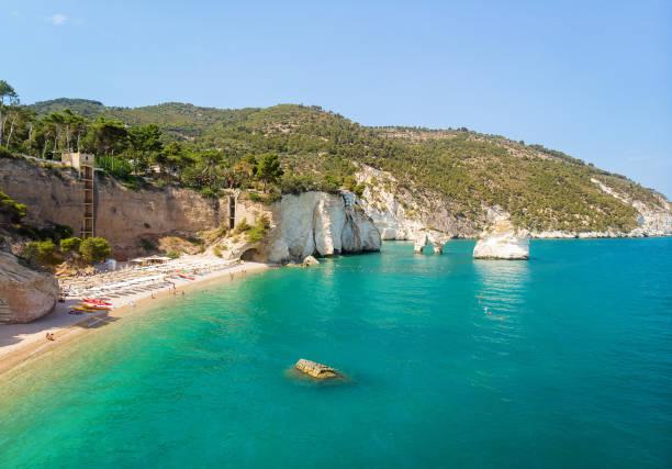 Zagare Beach Bay, Gargano and Faraglioni di Puglia stock photo