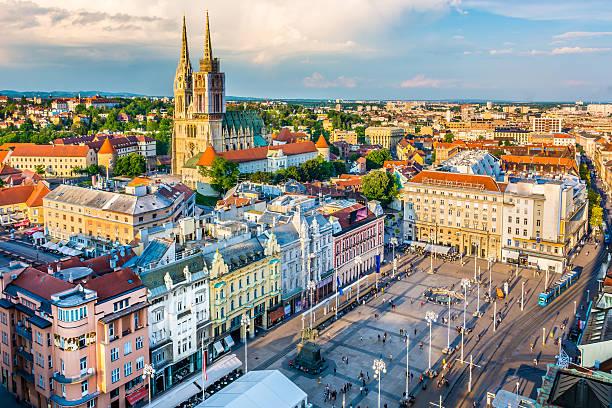 Zagreb aerial view, Croatia capital town. – Foto