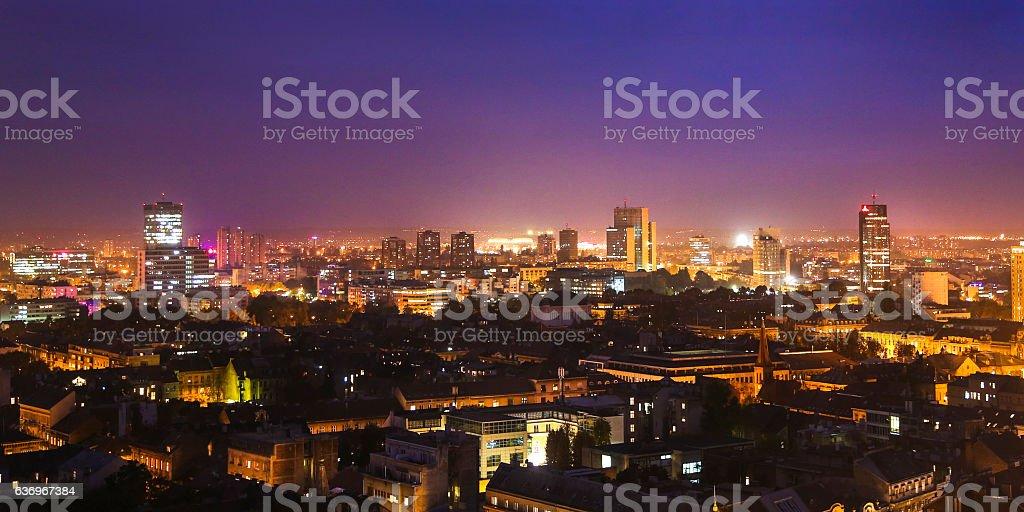 Zagreb at night stock photo