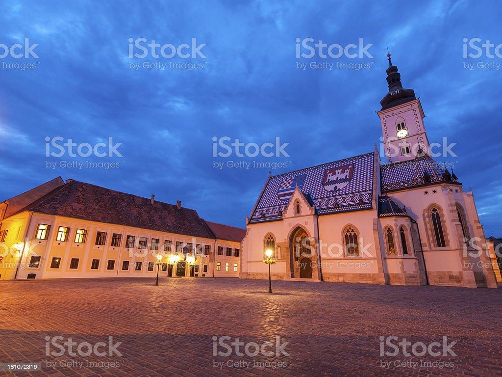 Zagreb by night royalty-free stock photo