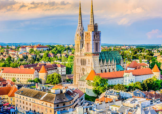 Zagreb cathedral aerial view. – Foto